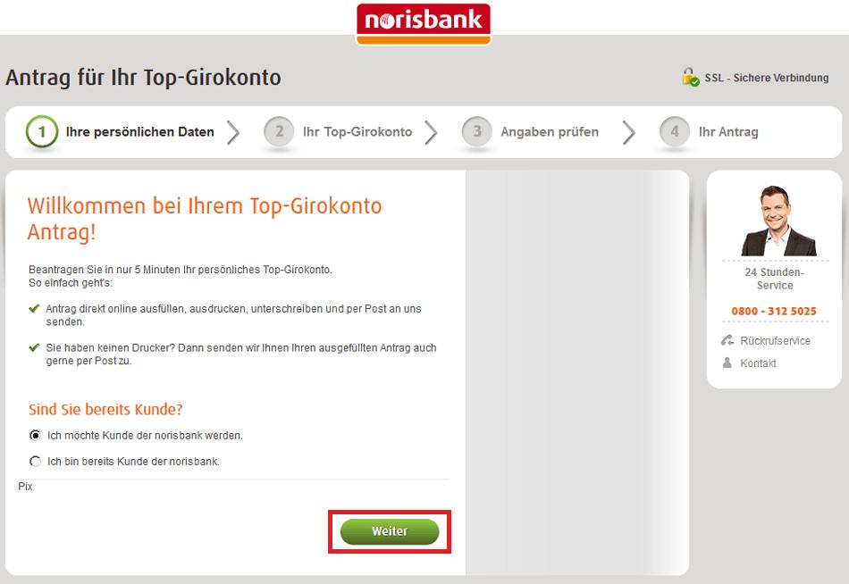 norisbank Eröffnung: Schritt 2
